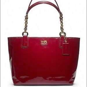 Coach Madison Patent Leather Tote Bag Crimson